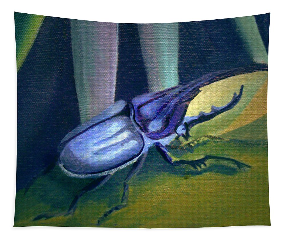 Insects Tapestry featuring the painting Card Of Nosey Bug by Nancy Griswold