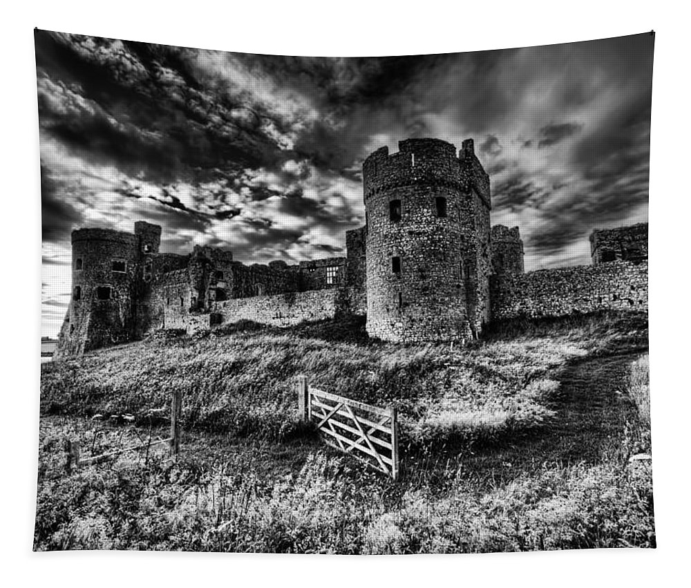 Carew Castle Tapestry featuring the photograph Carew Castle Pembrokeshire 4 Mono by Steve Purnell