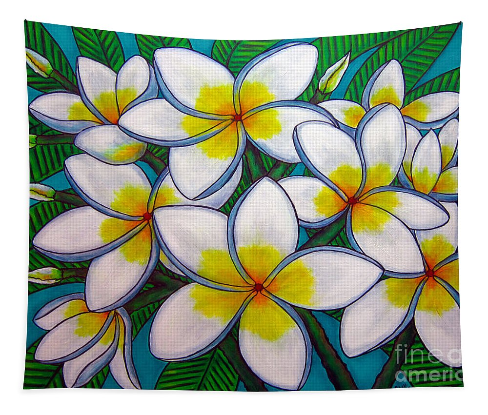 Frangipani Tapestry featuring the painting Caribbean Gems by Lisa Lorenz
