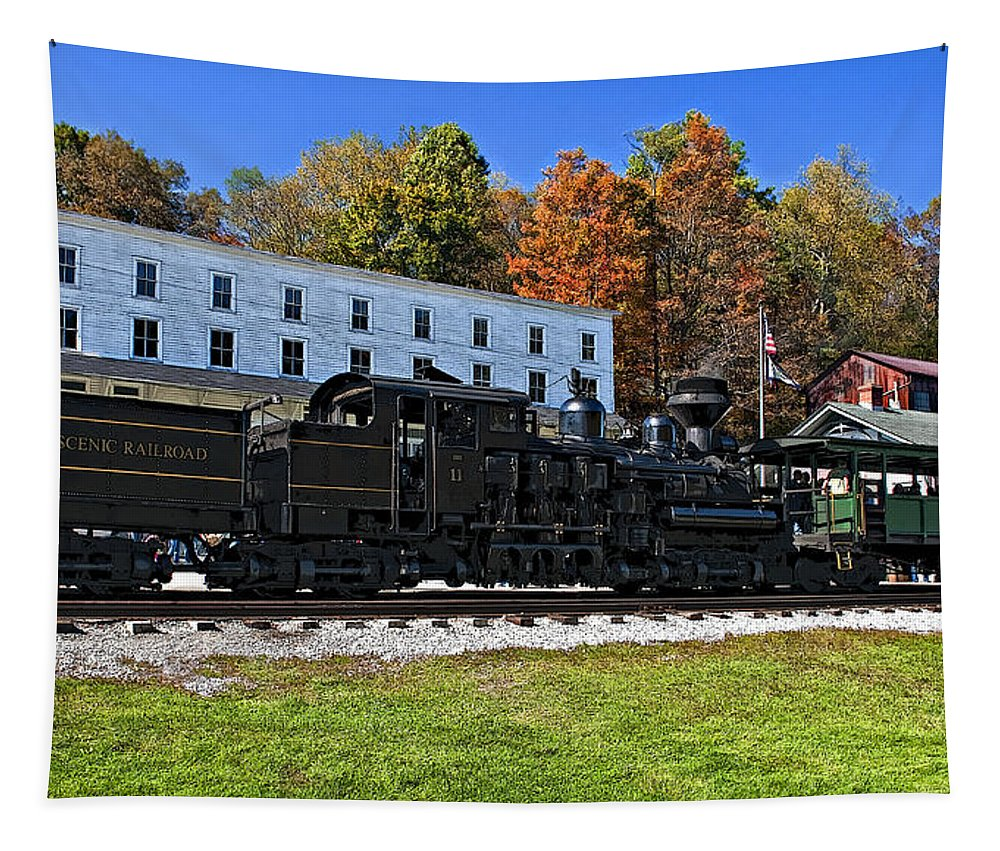 West Virginia Tapestry featuring the photograph Cass Railway Wv Painted by Steve Harrington