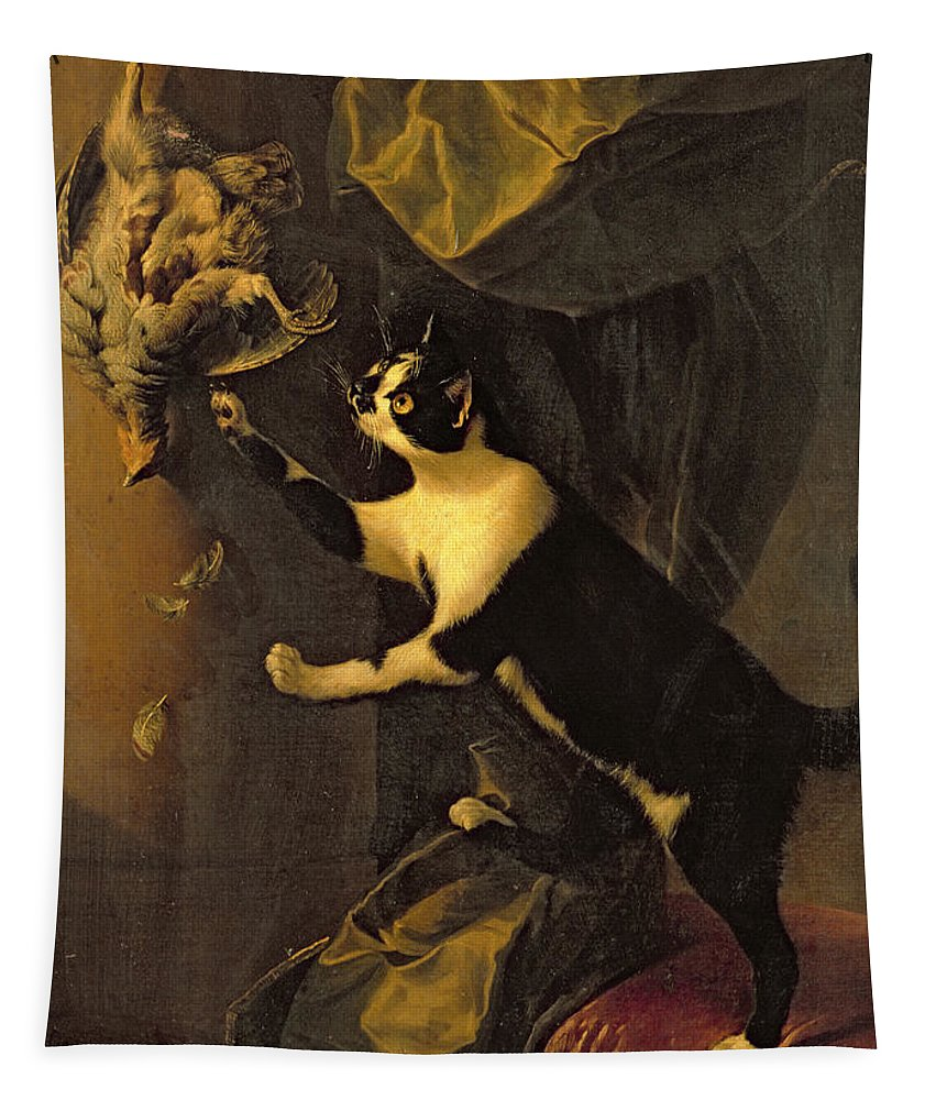 Gg186401 Tapestry featuring the photograph Cat And Dead Game by Alexandre-Francois Desportes
