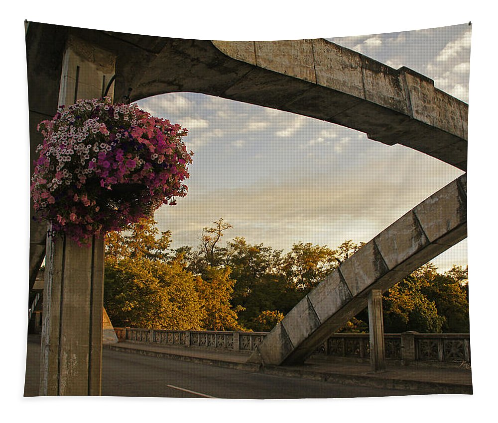 Caveman Tapestry featuring the photograph Caveman Bridge Arch And Flowers by Mick Anderson