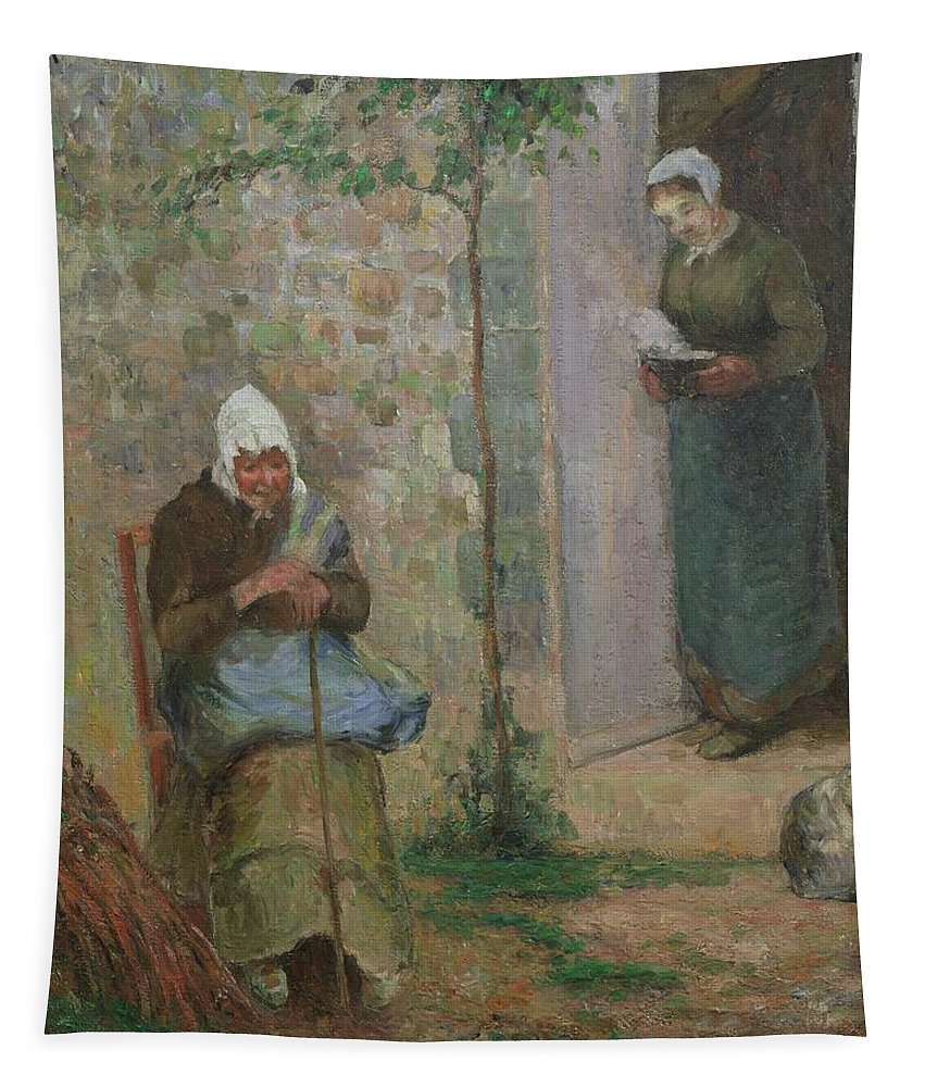 Charity Tapestry featuring the painting Charity by Camille Pissarro