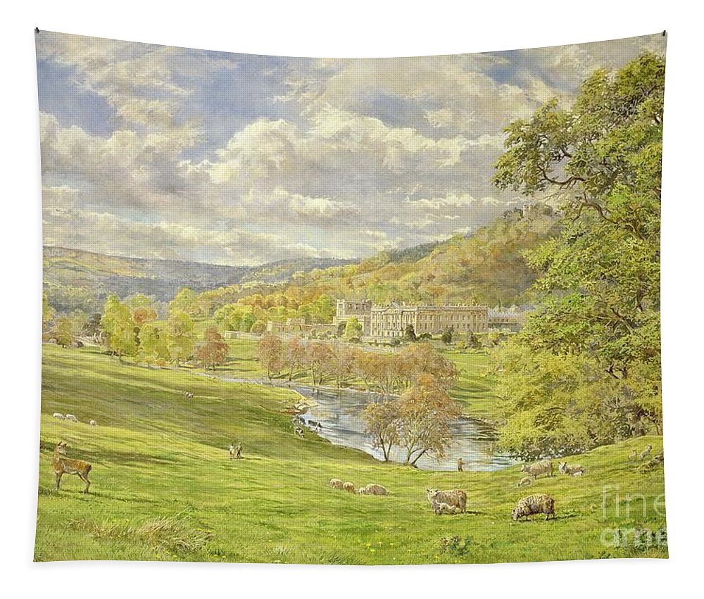 Landscape; Deer; Park; Sheep; Pastoral; Stately Home; Duke Of Devonshire; Devonshire; Chatsworth; Tree; Trees; Hill; Hills; Water; Green; Grass; Tranquil; Serene Animals; Grazing Tapestry featuring the painting Chatsworth by Tim Scott Bolton