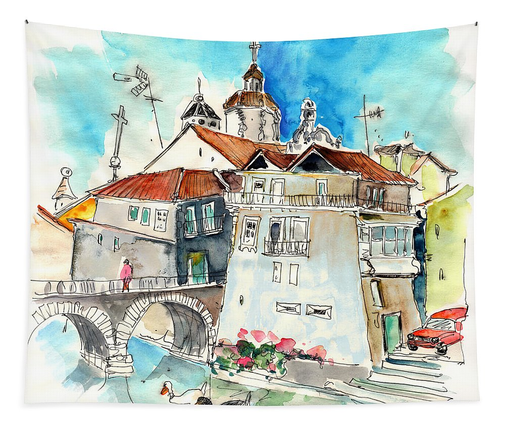 Travel Tapestry featuring the painting Chaves In Portugal 05 by Miki De Goodaboom