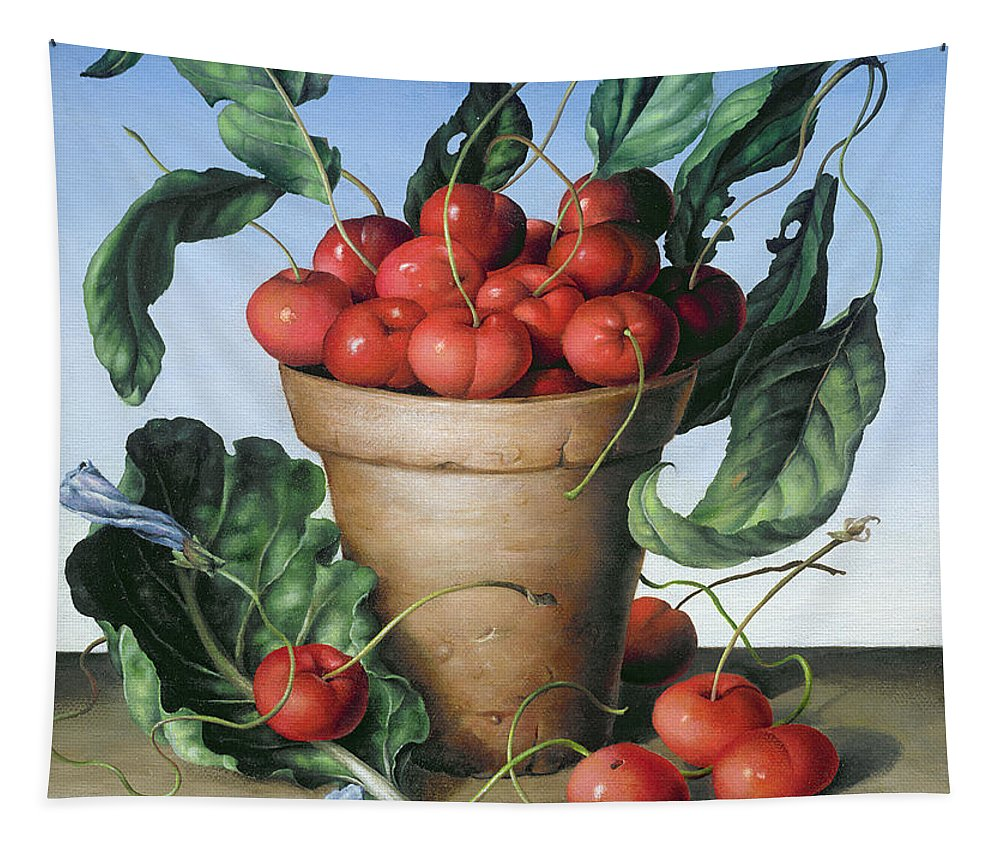 Still Life; Fruit; Cherry; Flower Pot; Leaves; Earthenware; Plenty; Bountiful; Food; Abundance; Leaf; Leafs Tapestry featuring the painting Cherries In Terracotta With Blue Flower by Amelia Kleiser