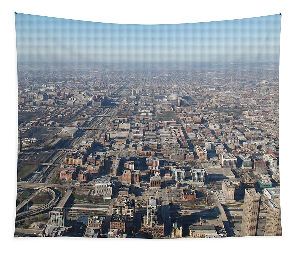 Chicago Tapestry featuring the photograph Chicago From The Top Of The Willis Tower by Richard Bryce and Family