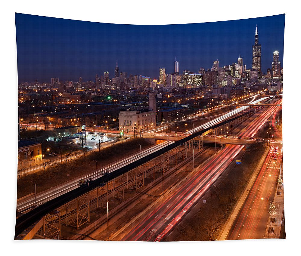 Aerial Tapestry featuring the photograph Chicago Illumina by Steve Gadomski