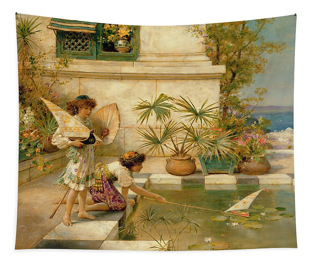 Children Tapestry featuring the painting Children Playing With Boats by William Stephen Coleman