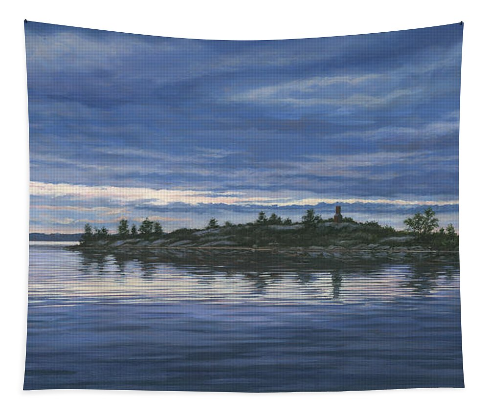 Island Tapestry featuring the painting Chimney Island by Richard De Wolfe