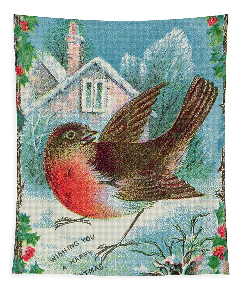 Victorian; Bird; Winter; Snow Tapestry featuring the painting Christmas Card Depicting A Robin by English School