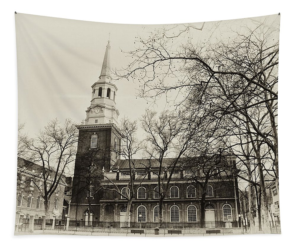 Christs Church Philadelphia In Sepia Tapestry featuring the photograph Christs Church Philadelphia In Sepia by Bill Cannon
