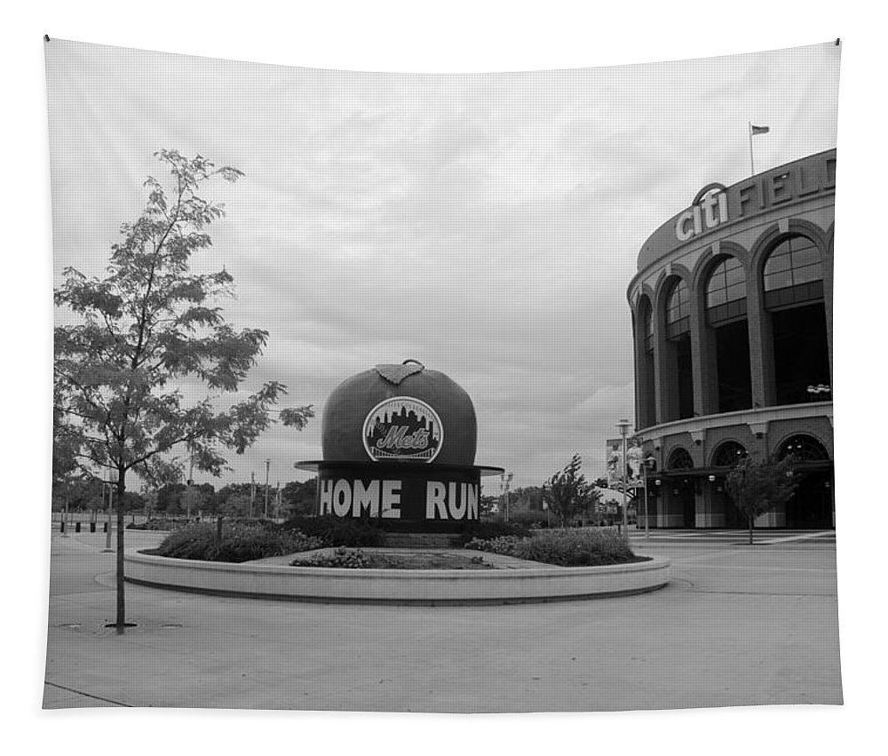 Shea Stadium Tapestry featuring the photograph CITI FIELD in BLACK AND WHITE by Rob Hans