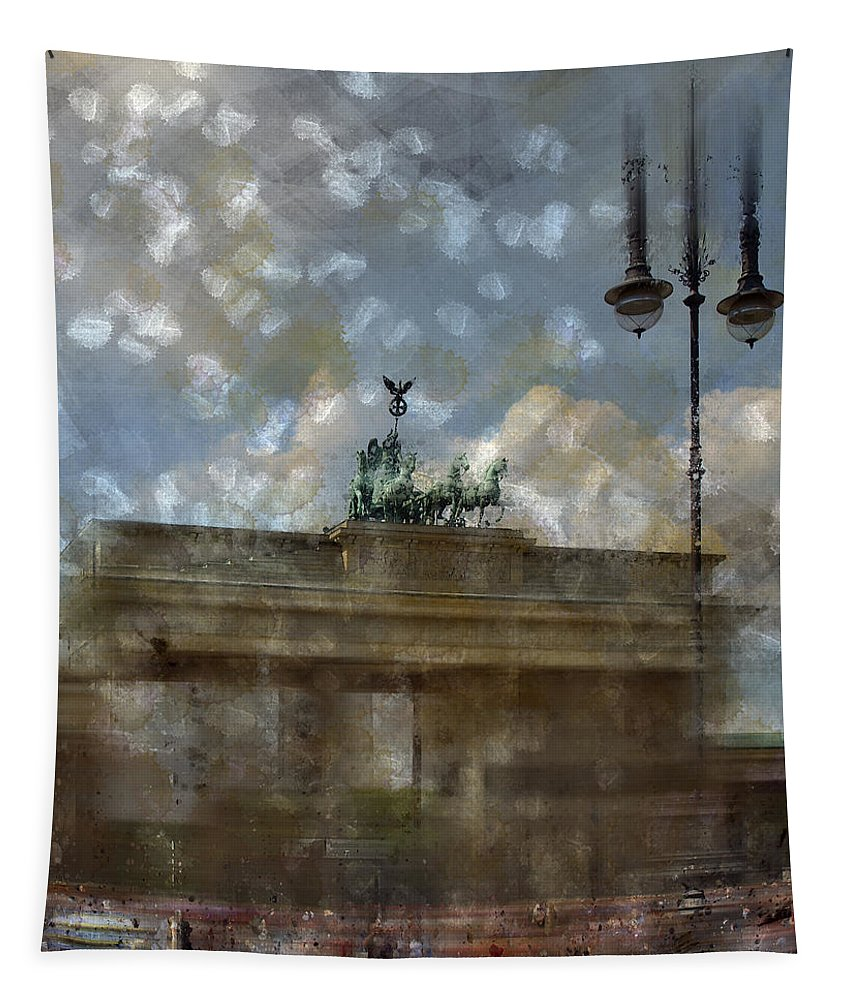 White Tapestry featuring the photograph City-art Berlin Brandenburger Tor II by Melanie Viola