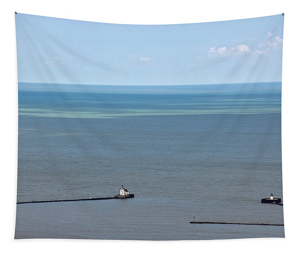 Lighthouse Tapestry featuring the photograph Cleveland Harbor Lighthouse by Dale Kincaid