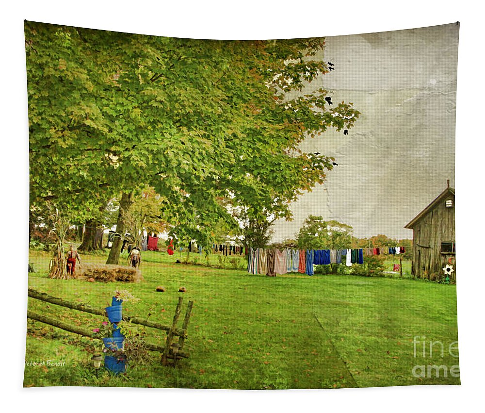 Landscape Tapestry featuring the photograph Clothes On The Line by Deborah Benoit
