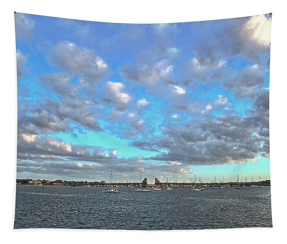 Clouds Old Fort St Augustine Florida Boats Water Intracoastal Waterway Tapestry featuring the photograph Cloud View From The Old Fort by Alice Gipson