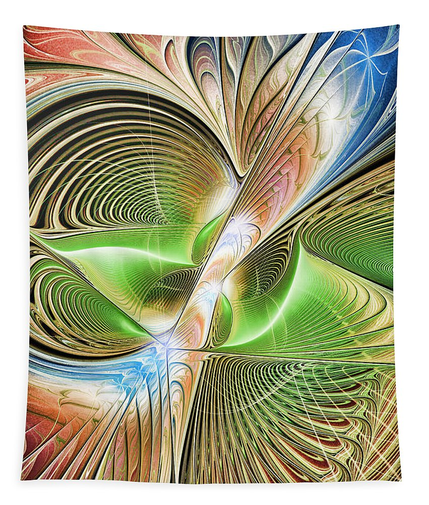 Fractal Tapestry featuring the digital art Color Etchings Of The Heart by Deborah Benoit
