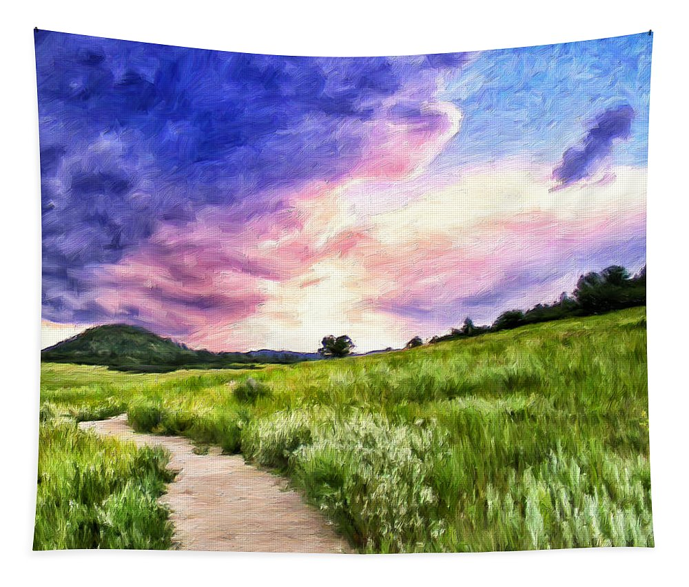 Colorado Tapestry featuring the painting Colorado Sunset by Dominic Piperata