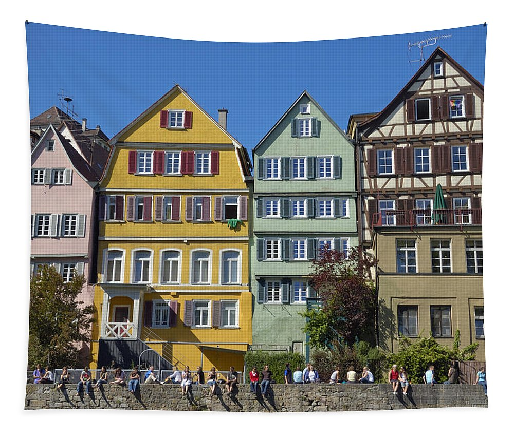 Tuebingen Tapestry featuring the photograph Colorful Old Houses In Tuebingen Germany by Matthias Hauser