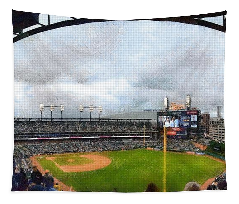 Detroit Tapestry featuring the photograph Comerica Park Home Of The Detroit Tigers by Michelle Calkins