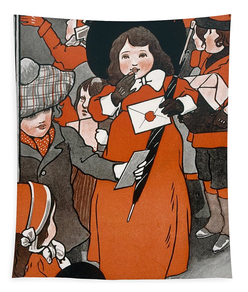 Coming Out Of The Post Office (colour Litho) Female; Envelope; Umbrella; Post; Mail; Christmas Card; Festive; Children; Gifts; Parcels; Presents; Muffs; Wax Seal; Victorian; Hat; Delivery; Postage; Graphic Tapestry featuring the painting Coming Out Of The Post Office by English School