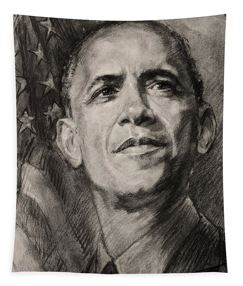 Barack Obama Tapestry featuring the drawing Commander-in-chief by Ylli Haruni