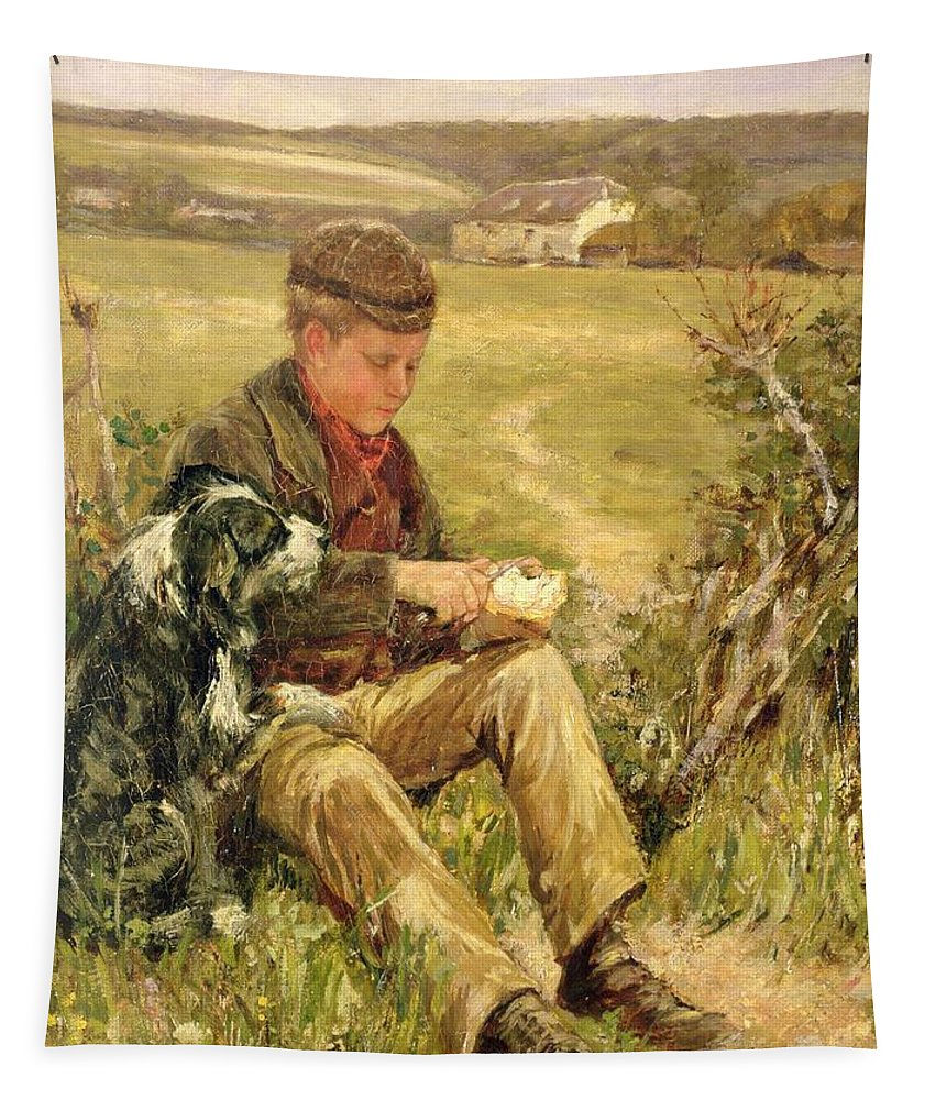 Fields; Snack; Dog; Cap; Hunger Tapestry featuring the painting Companions by James Charles