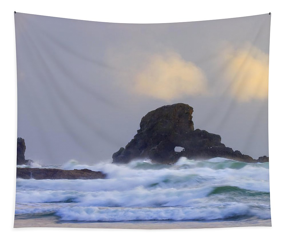 Seastack Tapestry featuring the photograph Consumed by the Sea by Mike Dawson