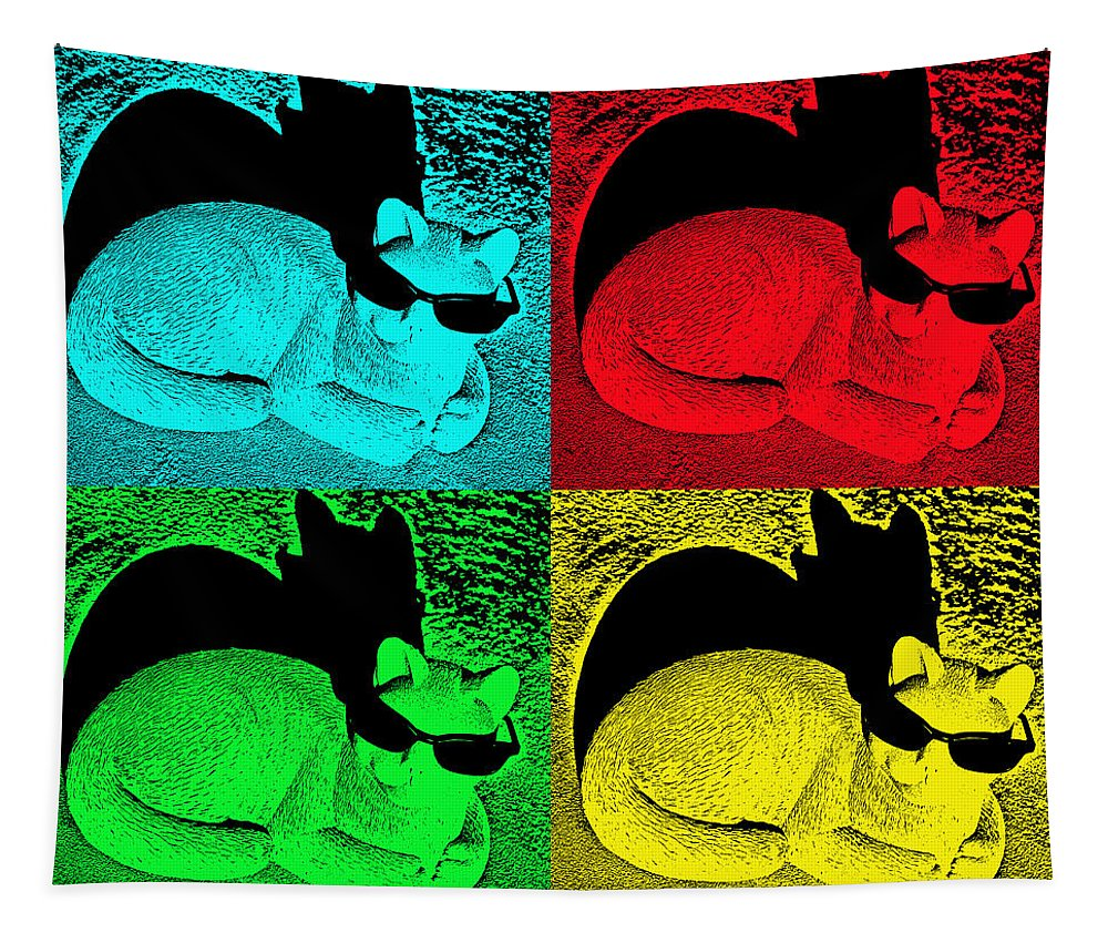 Cat Tapestry featuring the photograph Cool Cat Pop Art by Aimee L Maher ALM GALLERY