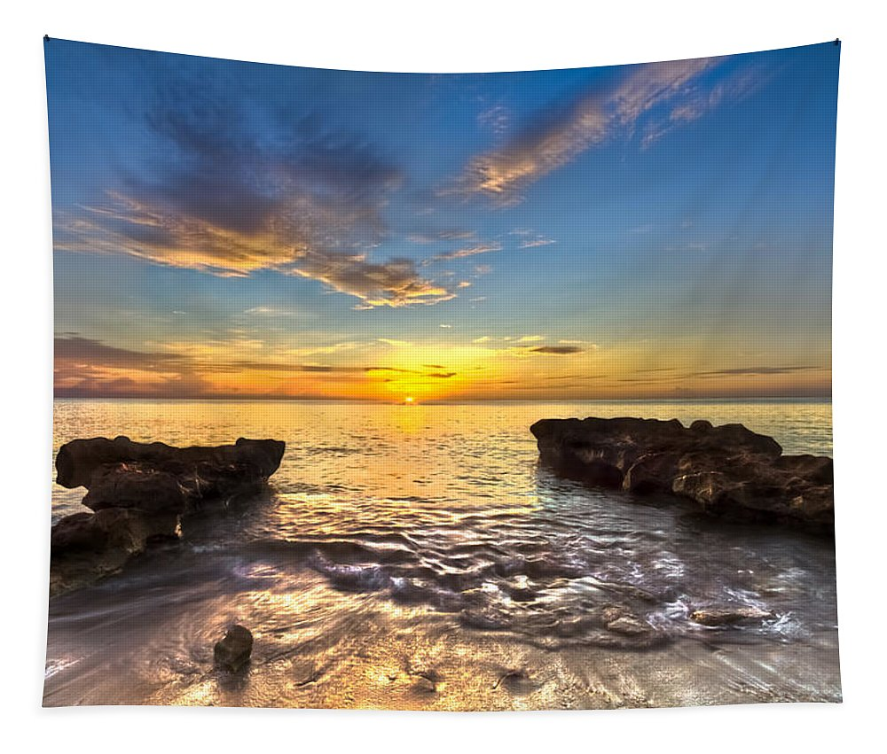 Blowing Rocks Tapestry featuring the photograph Coral Tides by Debra and Dave Vanderlaan