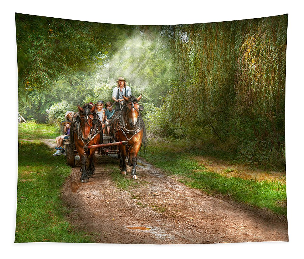 Country Tapestry featuring the photograph Country - Horse - The Hay Ride by Mike Savad