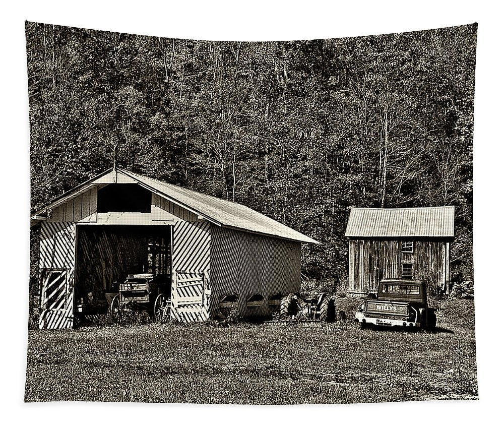 West Virginia Tapestry featuring the photograph Country Life Sepia by Steve Harrington