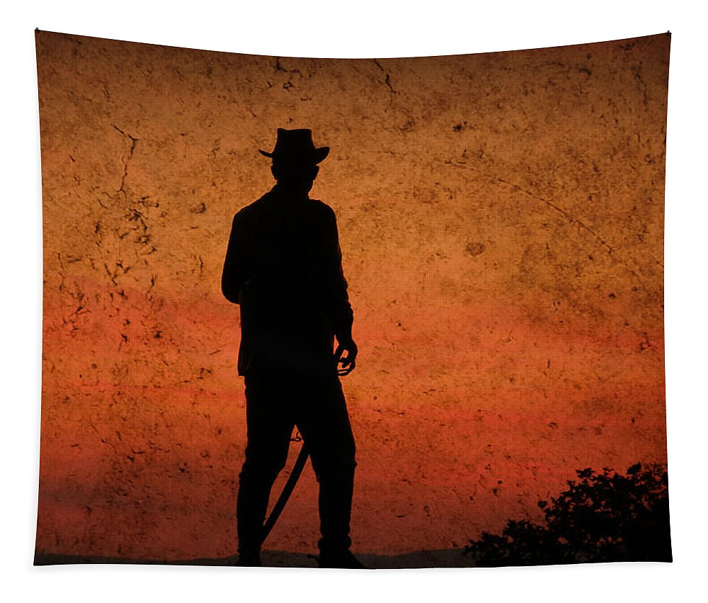 Cowboy Tapestry featuring the photograph Cowboy At Sunset by Trish Tritz