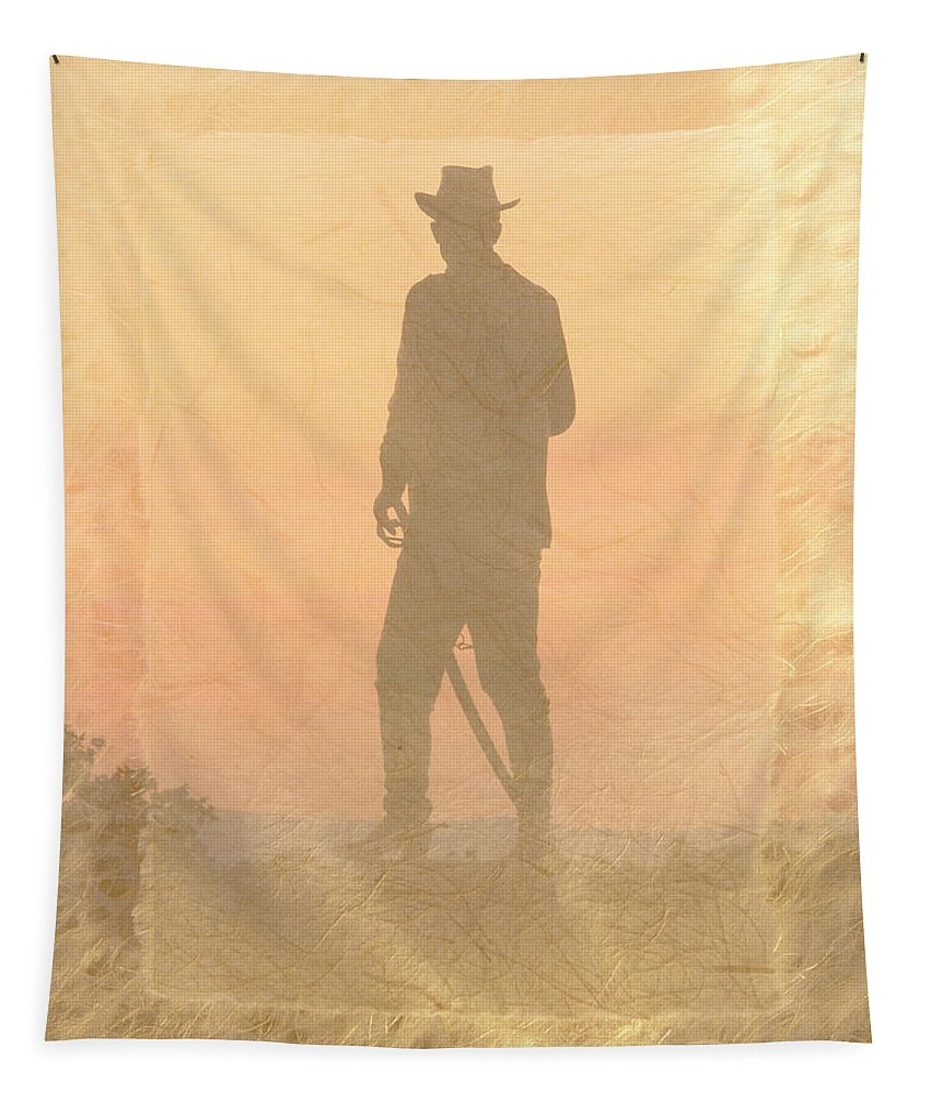 Cowboy Tapestry featuring the photograph Cowboy On The Hill by Trish Tritz