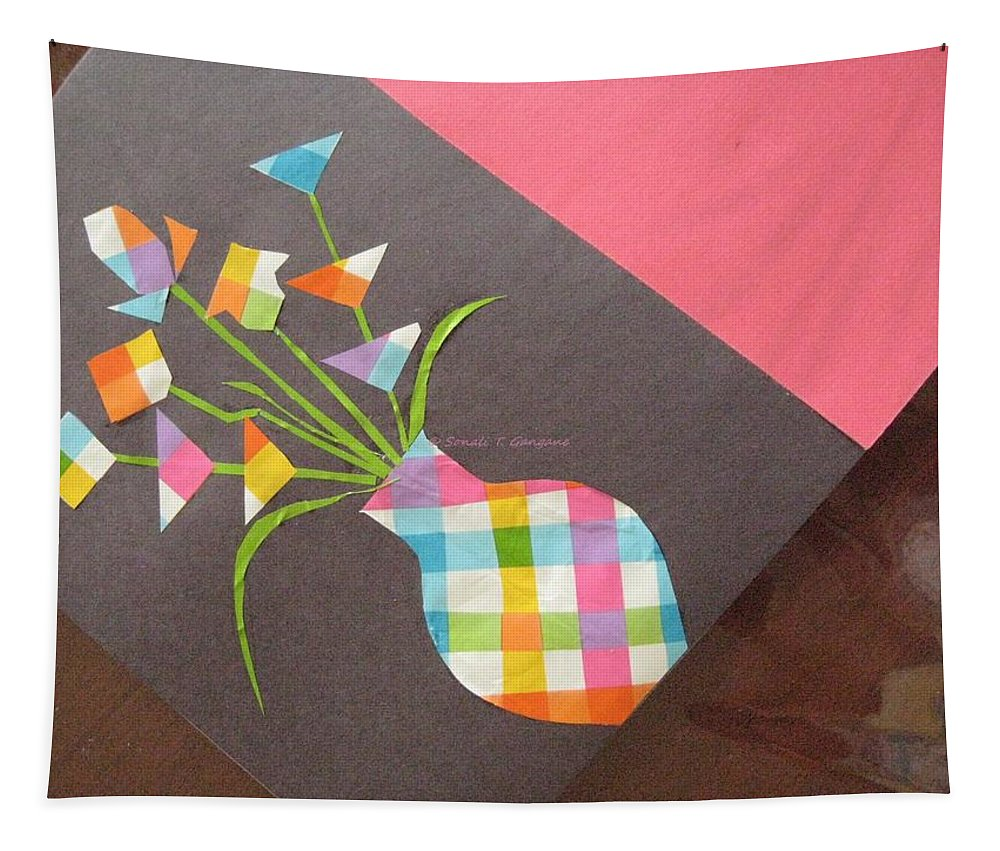 Paper Flower Vase Tapestry featuring the mixed media Creative Mind Unfolds by Sonali Gangane