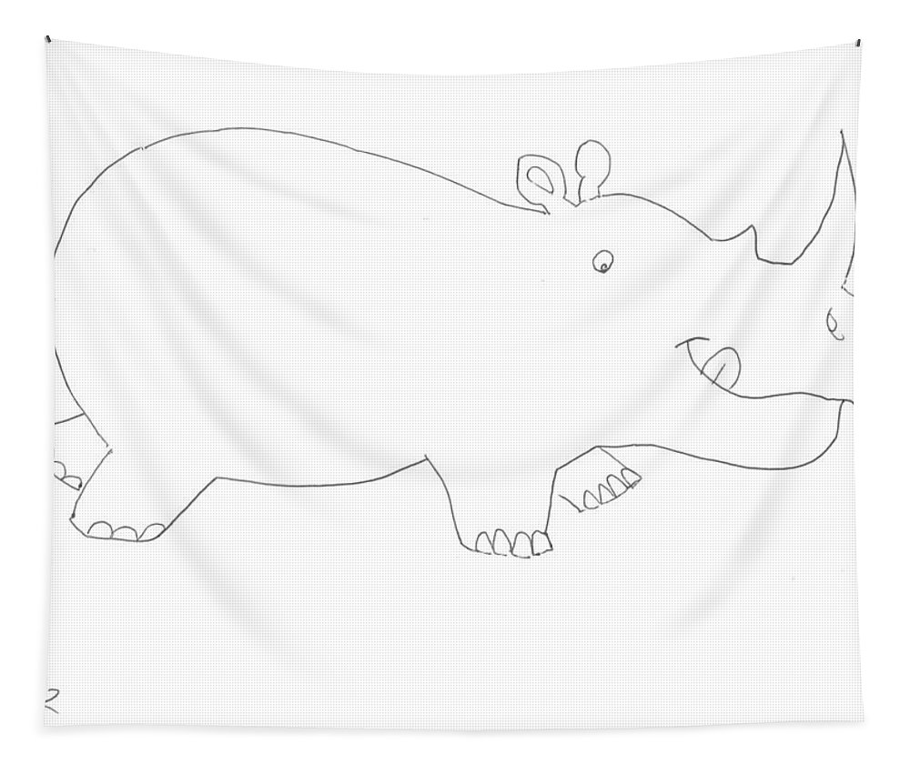 Cute Tapestry featuring the drawing Cute Cartoon Rhino by Mike Jory