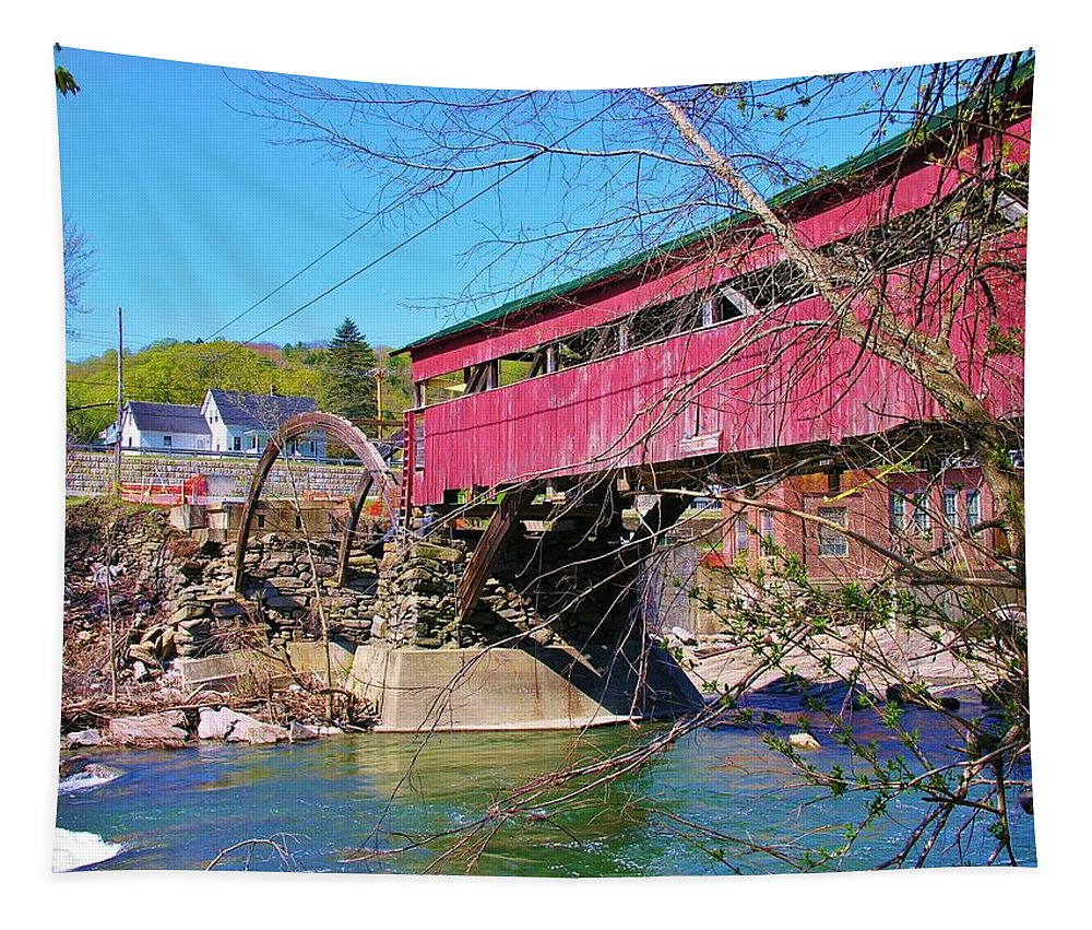 Covered Bridge Tapestry featuring the photograph Damaged Covered Bridge by Sherman Perry
