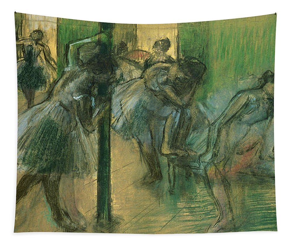 Dancers Rehearsing Tapestry featuring the painting Dancers Rehearsing by Edgar Degas