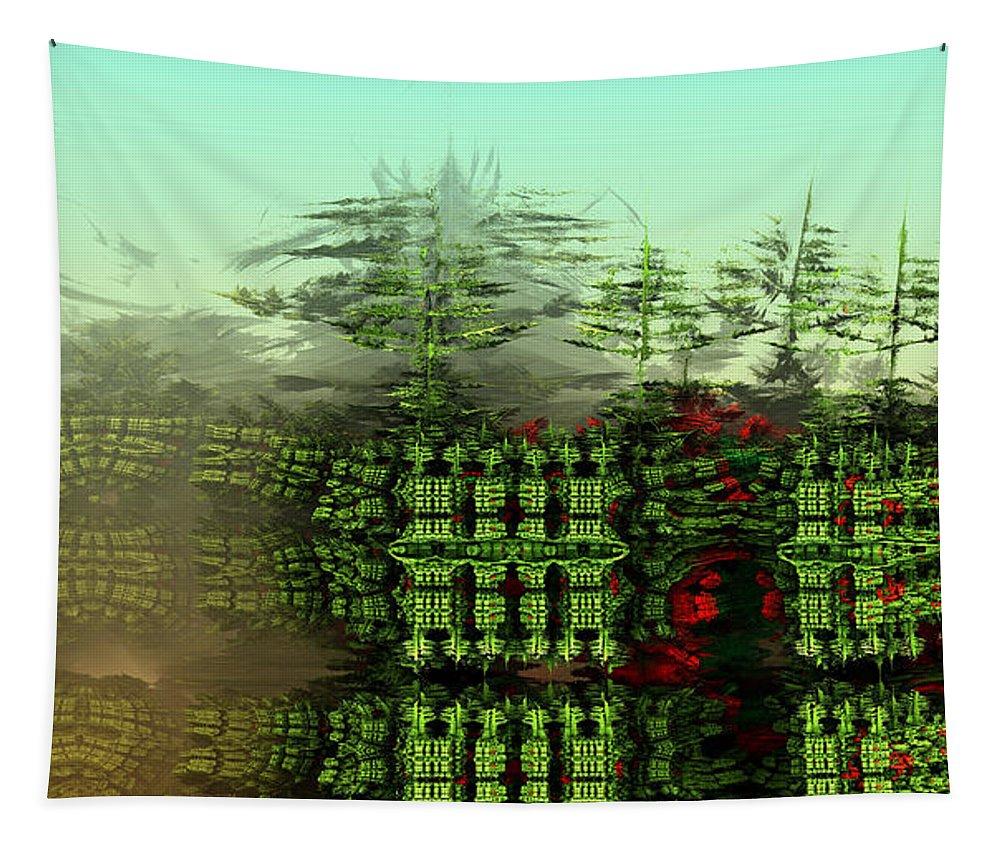 Digital Digital Art Tapestry featuring the digital art Dancing Trees On Alien Cliffs by Richard Ortolano