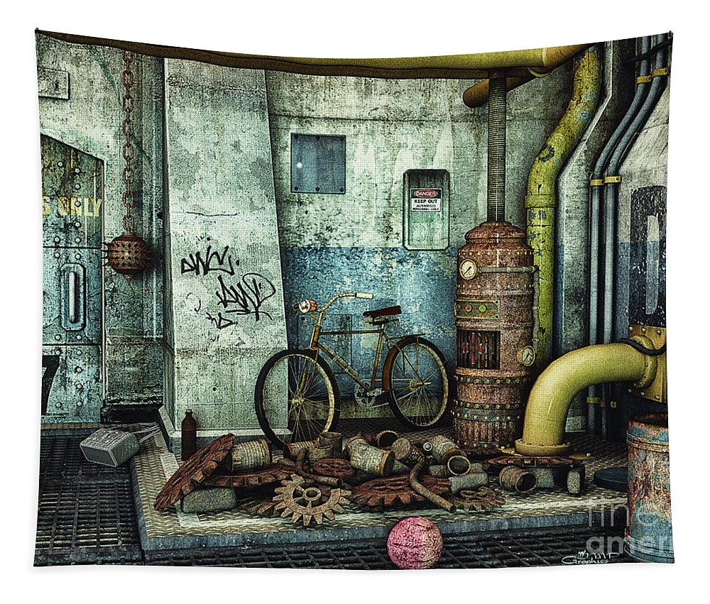 3d Tapestry featuring the digital art Dark Places Tell Stories by Jutta Maria Pusl
