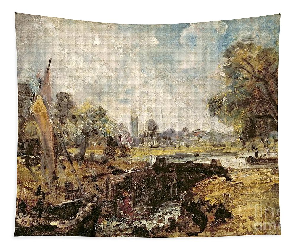 Dedham Tapestry featuring the painting Dedham Lock by John Constable
