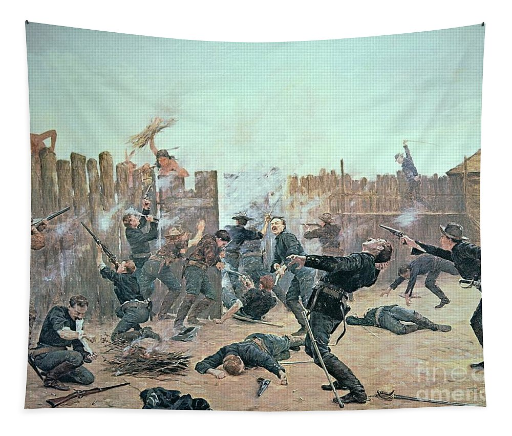 War Tapestry featuring the painting Defending The Fort by Charles Schreyvogel