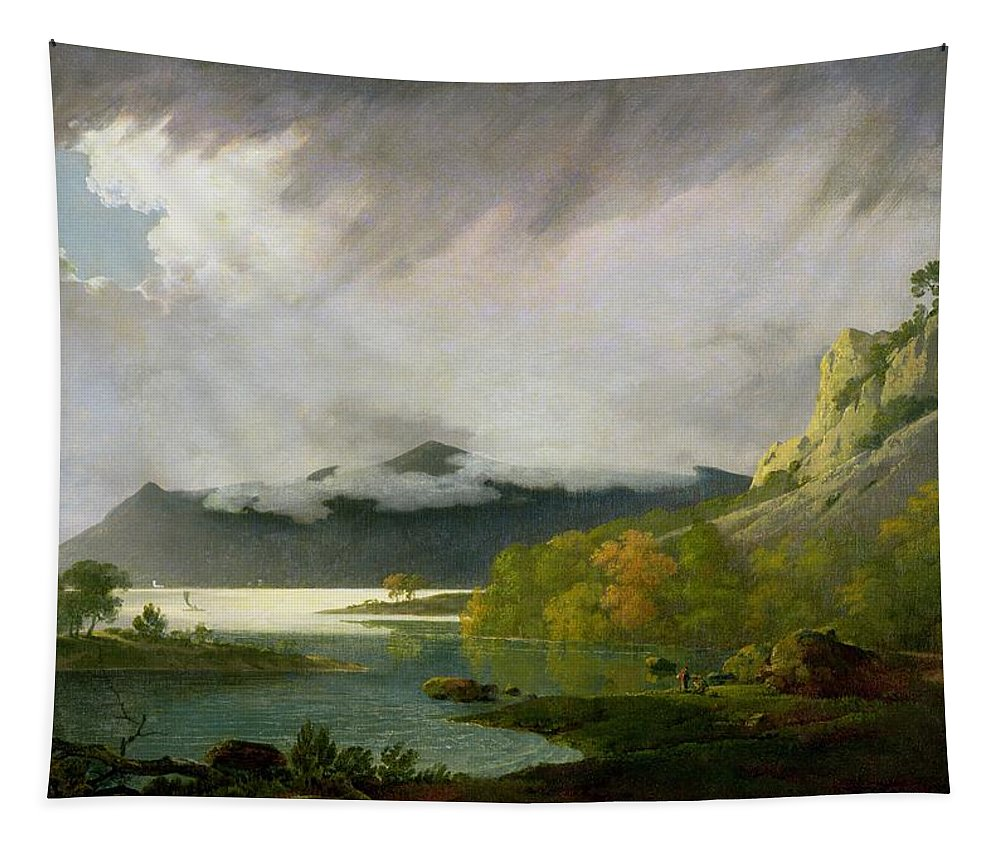 Xyc111916 Tapestry featuring the photograph Derwent Water With Skiddaw In The Distance by Joseph Wright of Derby