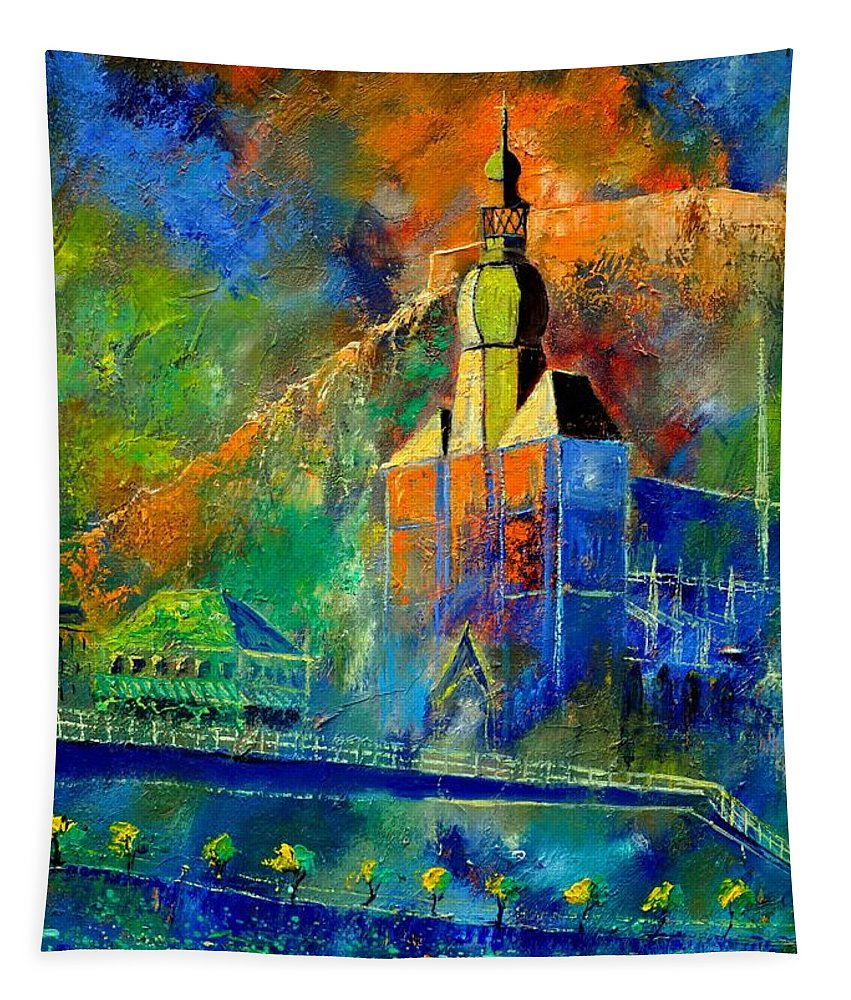 Landscape Tapestry featuring the painting Dinant 572190 by Pol Ledent