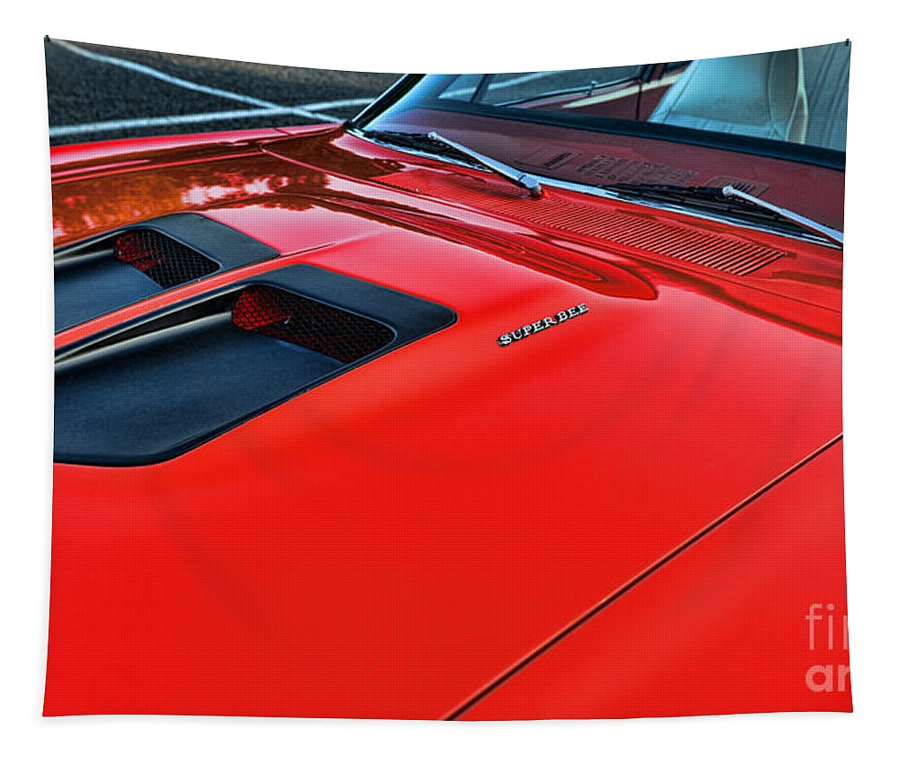 Dodge Super Bee In Red Tapestry featuring the photograph Dodge Super Bee Hood In Red by Paul Ward