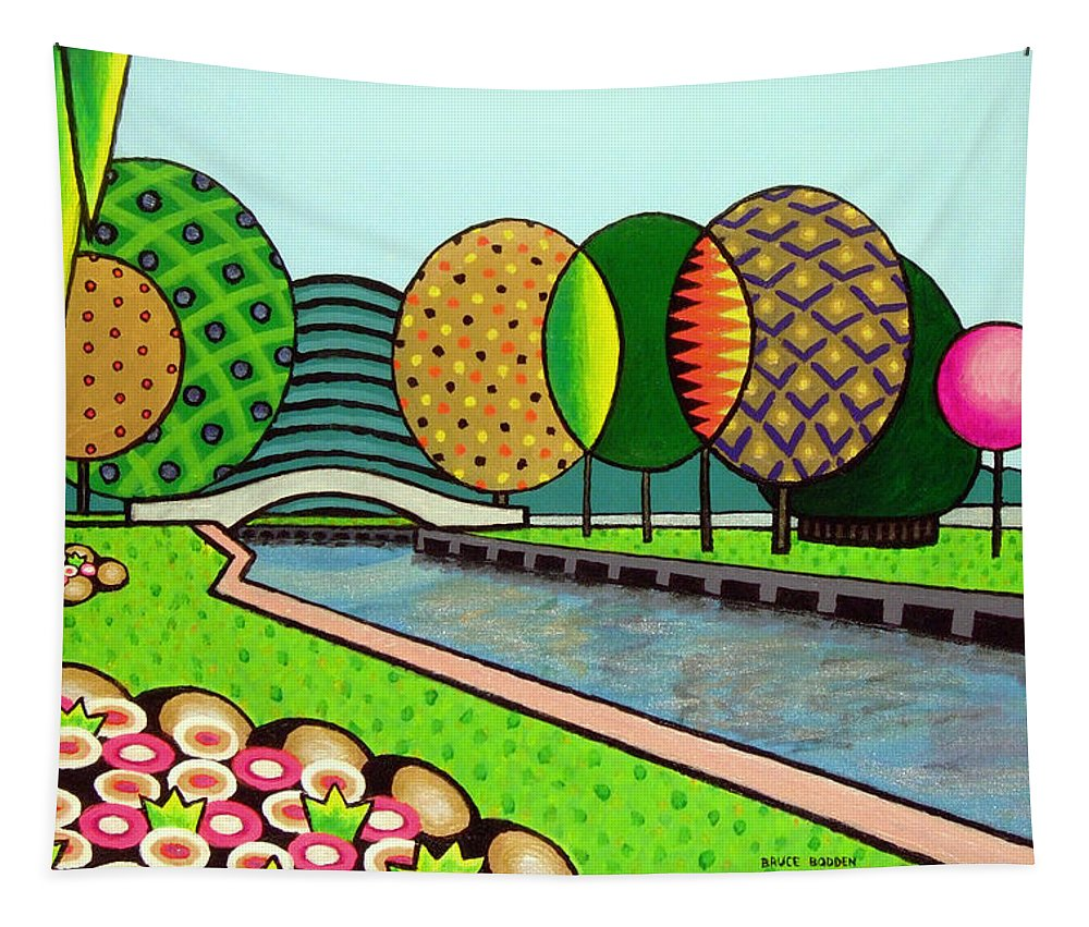 Landscape Tapestry featuring the painting Doty Park Fluorescent by Bruce Bodden