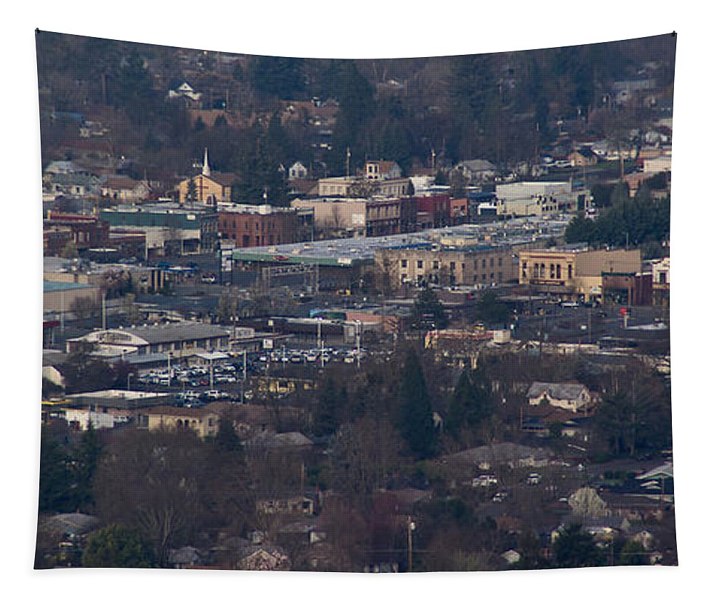 Downtown Tapestry featuring the photograph Downtown Grants Pass Sunday Morning by Mick Anderson