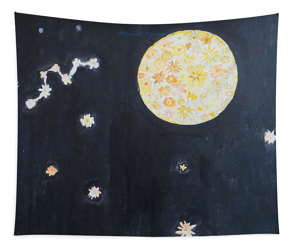 Floral Moon Starry Night Tapestry featuring the painting Dream by Sonali Gangane