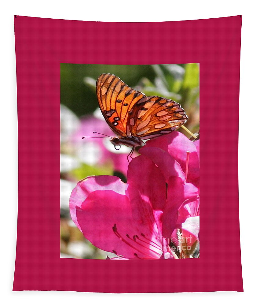 Butterfly Tapestry featuring the photograph Dreaming Of Butterflies And Pink Flowers by Carol Groenen